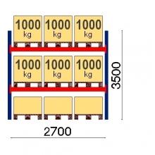 Kaubaaluse riiul põhiosa 3500x2700 1000kg/alus,9 alust OPTIMA