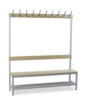 Single bench 1700x600x400 with 4 hook rail and shoe shelf