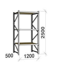 Metallriiul põhiosa 2500x1200x500 600kg/tasapind, 3 puitlaast tasapinda