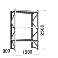 Starter bay 2500x1500x800 600kg/level,3 levels with steel decks