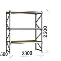 Metallriiul põhiosa 2500x2300x500 350kg/tasapind,3 puitlaast tasapinda