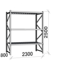 Metallriiul põhiosa 2500x2300x800 350kg/tasapind,3 tsinkplekk tasapinda