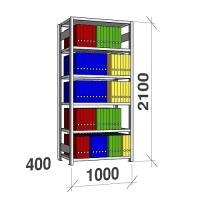 Arkivhylla startsektion 2100x1000x400 150kg/hyllplan,6 hyllor