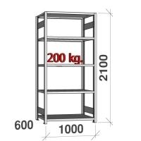 Laoriiul põhiosa 2100x1000x600 200kg/riiuliplaat,5 plaati