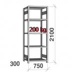 Starter bay 2100x750x300 200kg/shelf,5 shelves