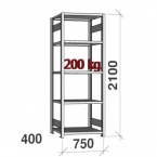 Starter bay 2100x750x400 200kg/shelf,5 shelves