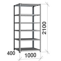 Angle shelf 2100x1000x400, 6 levels,120kg/level, gray