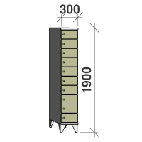 Sektsioonkapp, 10 ust, 1900x300x545 mm