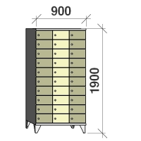 10-tier locker, 30 doors, 1900x900x545 mm