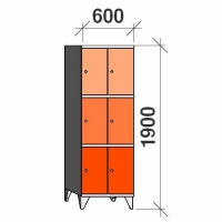 3-tier locker, 6 doors, 1900x600x545 mm