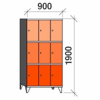 3-tier locker, 9 doors, 1900x900x545 mm
