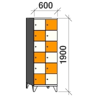 6-tier locker, 12 doors, 1900x600x545 mm