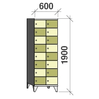 8-tier locker, 16 doors, 1900x600x545 mm