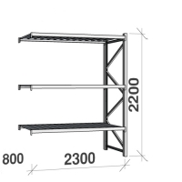 Extension bay 2200x2300x800 350kg/level,3 levels with steel decks
