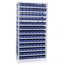 Small parts shelving 2100x1000x300, 104  bins 300x120x95