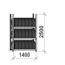 Däckställ startsektion 2500x1400x500, 3 hyllplan,600kg/plan