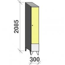 Locker 1x300, 2085x300x545 short door, sloping top