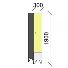 Locker 1x300, 1900x300x545 short door