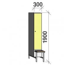 Locker with a bench, 1x300 1900x300x830