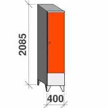 Locker 1x400, 2085x400x545 short door, sloping top