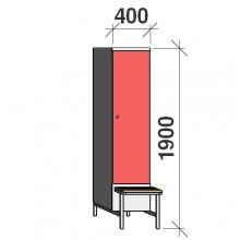 Riidekapp pingiga, 1x400 1900x400x830