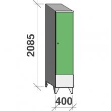 Riidekapp 1x400 2085x400x545, lühike uks, vahesein, kaldkatusega