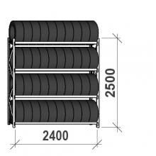 Däckställ startsektion 2500x2400x500, 4 hyllplan,300kg/plan