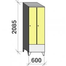 Locker 2x300, 2085x600x545 short door, sloping top