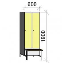Locker with a bench, 2x300 1900x600x830