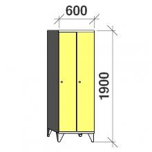 Riidekapp 2x300, 1900x600x545, pikk uks
