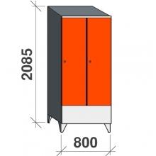 Locker 2x400, 2085x800x545 short door, sloping top