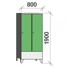 Locker 2x400, 1900x800x545, short door, sep. wall