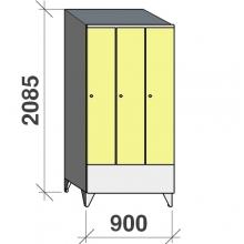 Riidekapp 3x300 2085x900x545, lühike uks, kaldkatusega