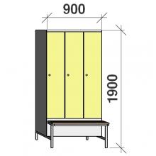 Locker with a bench, 3x300 1900x900x830