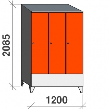 Riidekapp 3x400 2085x1200x545, lühike uks, kaldkatusega