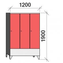 Locker 3x400, 1900x1200x545 short door