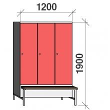 Locker with a bench, 3x400 1900x1200x830