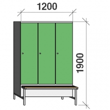 Locker with a bench, 4x300 1900x1200x815 sep. wall