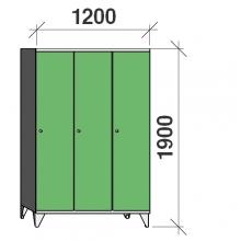 Locker 3x400, 1900x1200x545, long door, sep. wall
