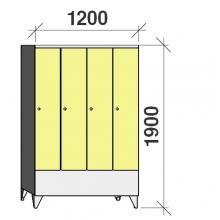 Locker 4x300, 1900x1200x545 short door