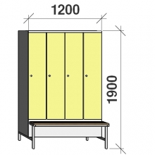 Locker with a bench, 4x300 1900x1200x830