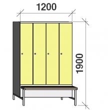 Locker with a bench, 4x300 1900x1200x830