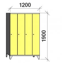 Riidekapp 4x300, 1900x1200x545, pikk uks