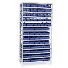 Small parts shelving 2100x1000x300, 76 bins