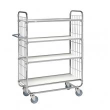 Flexibel shelf trolley 4 shelves 1195x470x1590mm, 250kg/2 wheels w.brakes