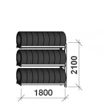 Däckställ följesektion 2100x1800x500, 3 hyllplan,480kg/plan