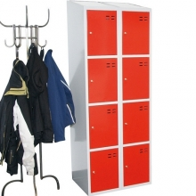 Storage locker, red/grey 8 compartments 1920x700x550