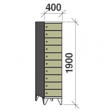 10-Tier locker, 10 doors, 1900x400x545 mm