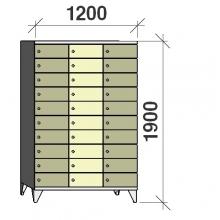 Klädskåp, 30 dörrar, 1900x1200x545 mm