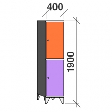 2-Tier locker, 2 doors, 1900x400x545 mm